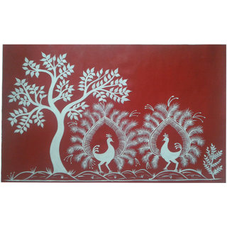 buy peacock warli painting on canvas online   get 8 off