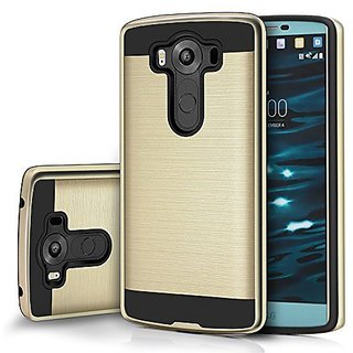 tinxi LG V10 Case cover Protective TPU Silicone soft inner shell frame + Brushed PC hard Back Case Shell Sleeve Cover 5.7 inches,Gold