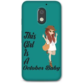 Moto E3 Power Designer Hard-Plastic Phone Cover From Print Opera -October Baby Girl