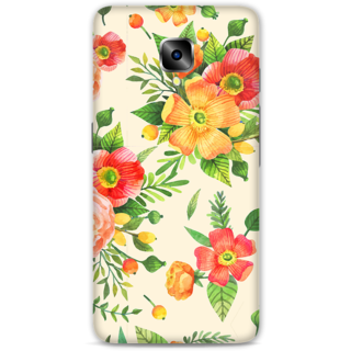 One Plus Three Designer Hard-Plastic Phone Cover From Print Opera -Yellow Floral