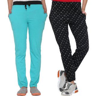 Vimal-Jonney Multicolor Cotton Blended Trackpants For Women(Pack Of 2)