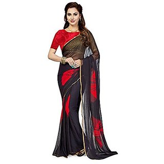 ae74285343ea50 Buy Ishin Black Chiffon Printed Saree With Blouse Online   ₹499 ...