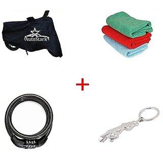 AutoStark Bike Body Cover Black+ Helmet Lock + Microfiber Cleaning Cloth + Jaguar Shaped Keychain For  Mahindra Gusto