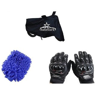 AutoStark Combo Bike Accessories Bike Body Cover Black With Pro Biker Full Gloves + Bike Cleaning Gloves For Bajaj Avenger 220 Street