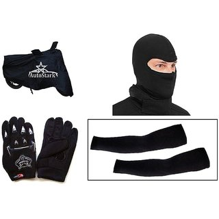 AutoStark Bike Combo + Knighthood Gloves + Alpinestar Face Mask + Arm Sleeve + Bike Body Cover For Honda Activa 125