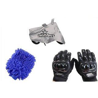 AutoStark Combo Bike Accessories Bike Body Cover Silver With Pro Biker Full Gloves + Bike Cleaning Gloves For Bajaj Avenger 150 Street