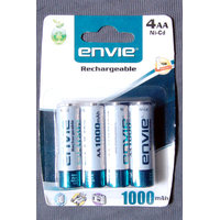 ENVIE PACK OF 4 RECHARGEABLE BATTERIES 1000 MAH
