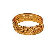 Dwellkart Party Wear 4 PC Golden Bangle JBA01458