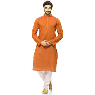 RG Designers Men's Orange Cotton Kurta Pajama Set