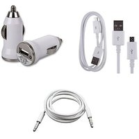 USB car charger + Data Cable + Aux Cable (Assorted Colors)
