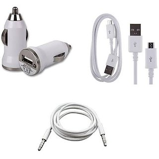 USB car charger + Data Cable + Aux Cable