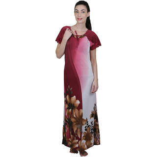 Buy Vixenwrap Wine Red Floral Print Nighty Online - Get 10% Off 06275bda8