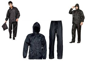 Black Stylish Bikers RainSuit for Men