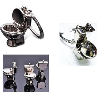 Commode Pot Key Chain Full Metallic Keychain Car Bike Set of 1 (Silver)
