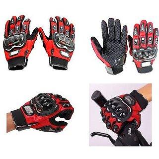 (Red) Pro Biker Riding Gloves Full