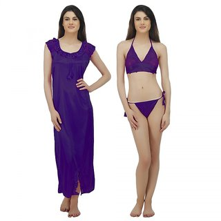 16e1318233 Buy Arlopa 3 Pieces Nightwear in Satin Nighty Bra and panty Online - Get  69% Off