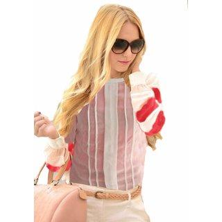 Indicot White Women Casual Wear Regular Medium Top