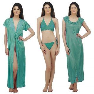 Buy Arlopa 4 Pieces Nightwear in Satin Robe Nighty Bra and Panty ... 6e6711d33