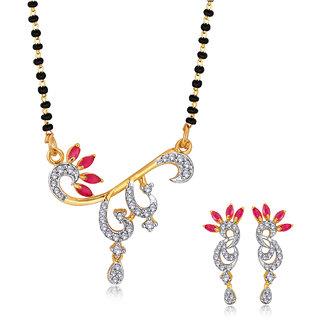 Spargz Designer Daily Wear Brass Metal Gold CZ Studded Single Line Beaded Manglsutra Set For Women AIMS 099