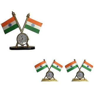 love4ride Double Sided India Flag for Car Dashboard