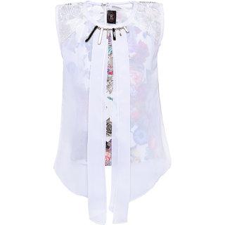 Punkster Polyester Multi-Coloured Floral Print Sleeveless Top For Girls