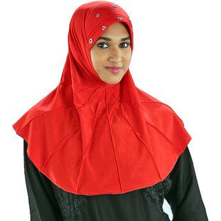 Bulan108 Red Polyester Hijab