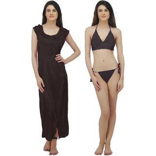 6c32ba9bca5 Buy Arlopa 3 Pieces Nightwear in Satin Nighty Bra and panty Online ...