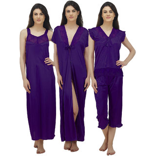 8c75b61111 Buy Arlopa Nightwear Pack Of 4 Containing Nighty Robe Top And Capri Online  - Get 75% Off