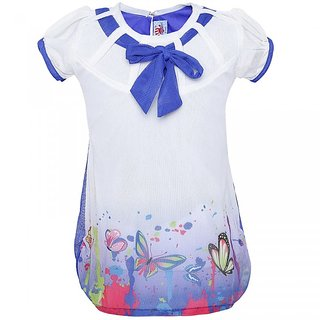 Punkster Polyester Multi-Coloured Printed Cap Sleeves Top For Girls