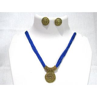 Dark Blue Thread Necklace Set