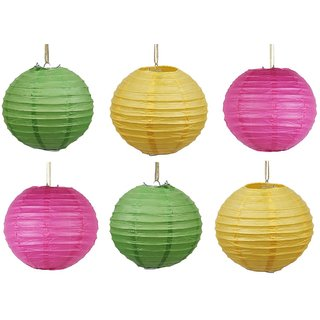 Skycandle 16 Inch Multicolor Coloured Round Paper Craft Hanging Lights Pack Of 6