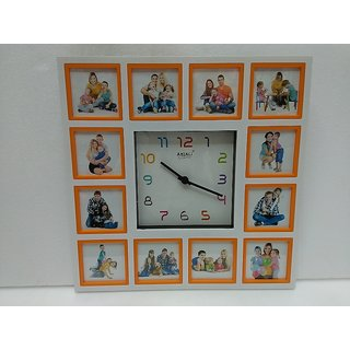 12 IN 1 COLLAGE WALL HANGING MULTI PHOTO FRAME WITH CLOCK Size 450