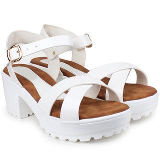 Do Bhai Women's White Heels