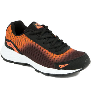 Asian Men Black & Orange Lace-up Running Shoes