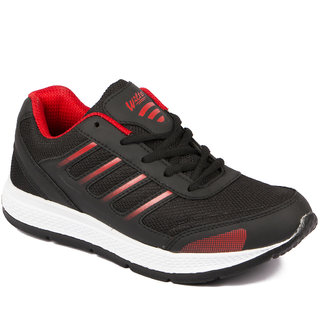 Asian Men Black & Red Lace-up Running Shoes