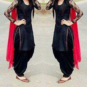 COTTON BAZAAR Black and Red Plain Cotton Salwar Suit Material