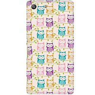 RAYITE Colourful Owl Premium Printed Mobile Back Case Cover For Sony Xperia M5