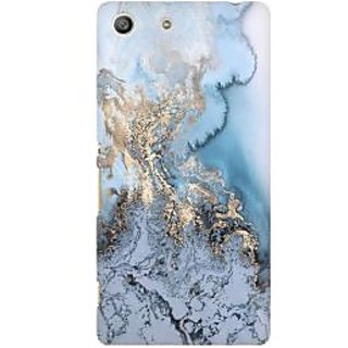 RAYITE Gold Sea Marble Premium Printed Mobile Back Case Cover For Sony Xperia M5