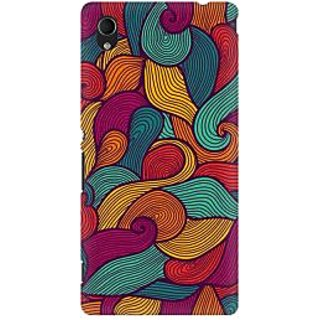 RAYITE Colourful Waves Premium Printed Mobile Back Case Cover For Sony Xperia M4