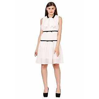 Eyelet Poly Georgette Shift Dress