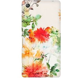 RAYITE Watercolor Flower Premium Printed Mobile Back Case Cover For Sony Xperia M5