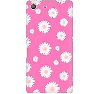RAYITE Pink Daisy Pattern Premium Printed Mobile Back Case Cover For Sony Xperia M5