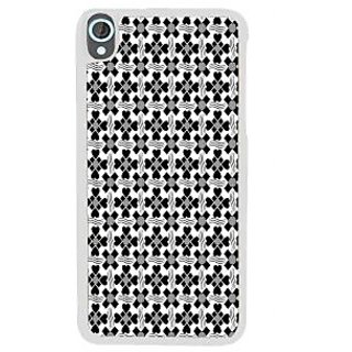 Ifasho Animated Pattern Design Black And White Flower In Royal Style Back Case Cover For HTC Desire 820
