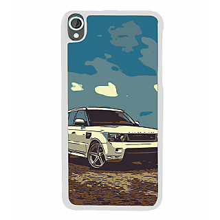 Ifasho Vintage White Car Back Case Cover For HTC Desire 820