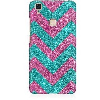 RAYITE Glitter Print Chevron Premium Printed Mobile Back Case Cover For Vivo V3 Max