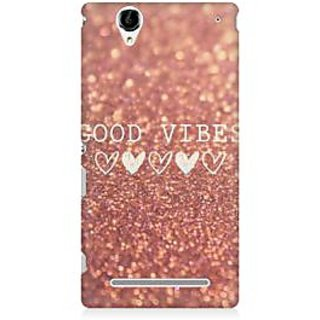 RAYITE Good Vibes Glitter Print Premium Printed Mobile Back Case Cover For Sony Xperia T2