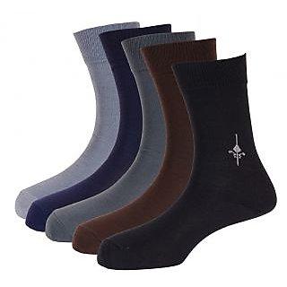 Calzini Men's Formal Crew Length Microfibre Socks Pack Of 5 Pair