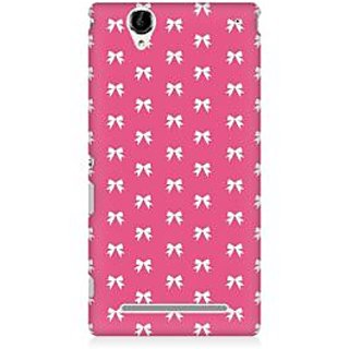 RAYITE Pink Bows Pattern Premium Printed Mobile Back Case Cover For Sony Xperia T2