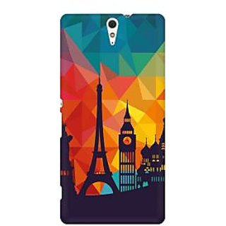 RAYITE Geometric City Premium Printed Mobile Back Case Cover For Sony Xperia C5