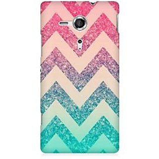 RAYITE Colourful Chevron Premium Printed Mobile Back Case Cover For Sony Xperia SP M35H